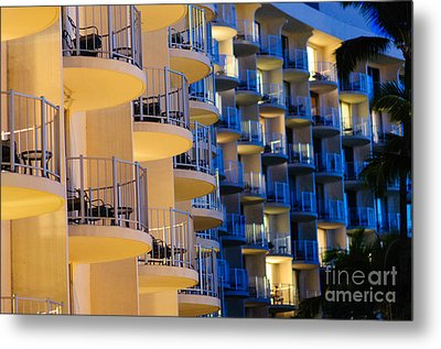 Blue And White Hotel Balcony Abstract. Metal Print
