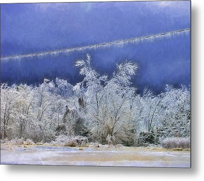 Blue And White Metal Print by Kathy Jennings
