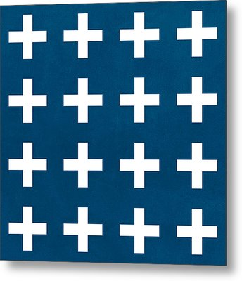 Blue And White Plus Sign Metal Print