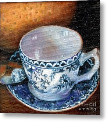 Blue And White Teacup With Spoon Metal Print