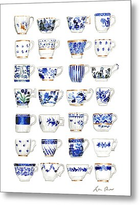 Blue And White Teacups Collage Metal Print by Laura Row Studio