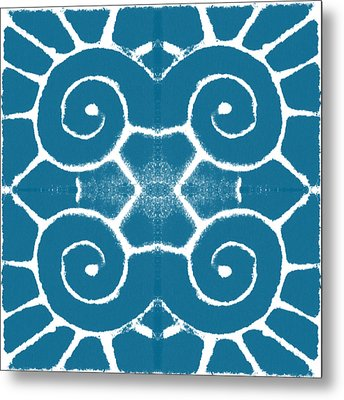 Blue And White Wave Tile- Abstract Art Metal Print by Linda Woods