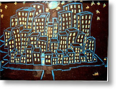 Blue House On The Left Metal Print