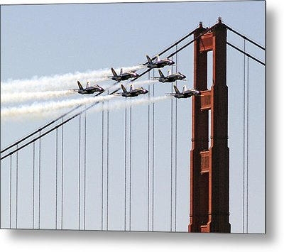 Blue Angels And The Bridge Metal Print by Bill Gallagher