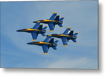 Metal Print featuring the photograph Blue Angels Diamond Formation Over Pensacola Beach by Jeff at JSJ Photography