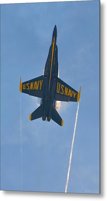 Metal Print featuring the photograph Blue Angels Ghost Appears Over Pensacola Beach by Jeff at JSJ Photography