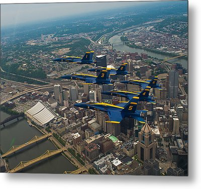 Blue Angels Over Pittsburg Metal Print by Specialist 2nd Class Kathryn E Macdonald
