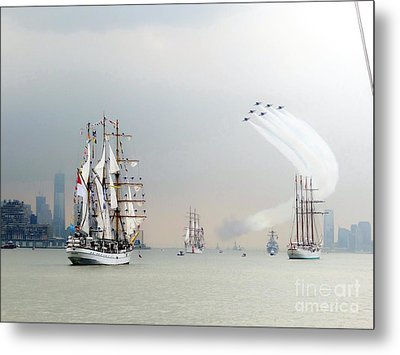 Blue Angels Over Ships N.y.c. Metal Print by Ed Weidman