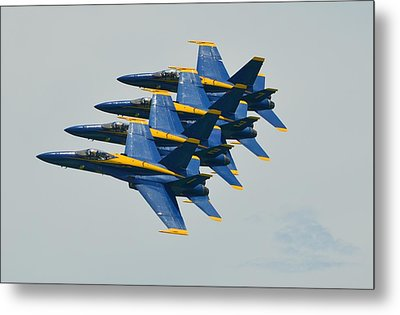 Metal Print featuring the photograph Blue Angels Practice Echelon Formation by Jeff at JSJ Photography