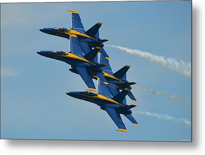 Metal Print featuring the photograph Blue Angels Practice Formation Over Pensacola Beach by Jeff at JSJ Photography