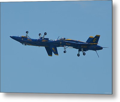 Metal Print featuring the photograph Blue Angels Practice Up And Down With Low And Slow by Jeff at JSJ Photography