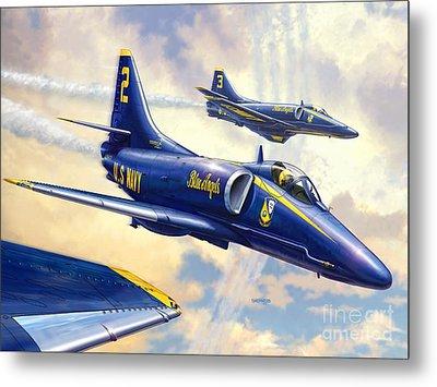 Blue Angels Skyhawk Metal Print by Stu Shepherd