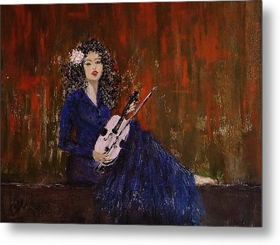 Metal Print featuring the painting Blue Ballad... by Cristina Mihailescu