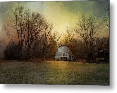 Blue Barn At Sunrise Metal Print by Jai Johnson