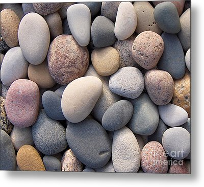 Metal Print featuring the photograph Blue Beach Stones by Kathi Mirto