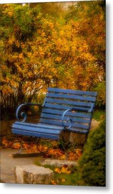 Blue Bench - Autumn - Deer Isle - Maine Metal Print