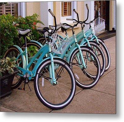 Metal Print featuring the photograph Blue Bikes by Rodney Lee Williams