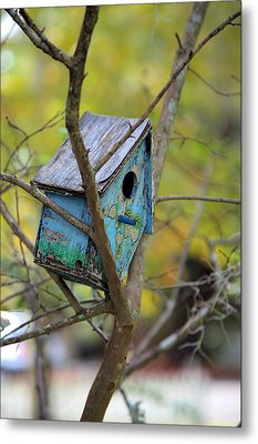 Metal Print featuring the photograph Blue Birdhouse by Gordon Elwell