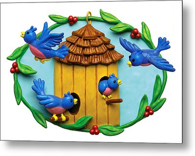 Blue Birds Fly Home Metal Print by Amy Vangsgard