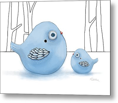 Blue Birds Of Happiness Metal Print by Karin Taylor