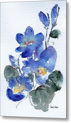 Metal Print featuring the painting Blue Blooms by Anne Duke