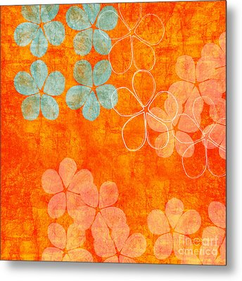 Blue Blossom On Orange Metal Print