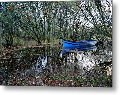 Blue Boat Metal Print by Barbara Walsh