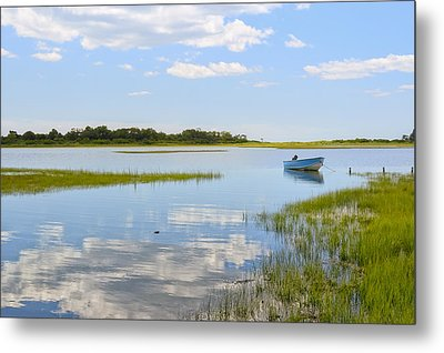 Blue Boat In The Backwaters Metal Print