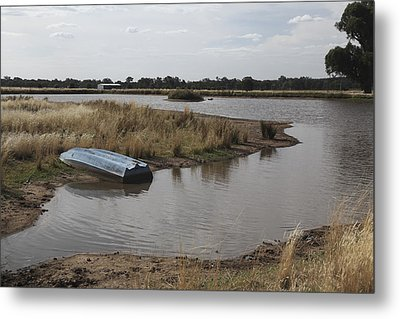 Metal Print featuring the photograph Blue Boat On Dam. by Carole Hinding