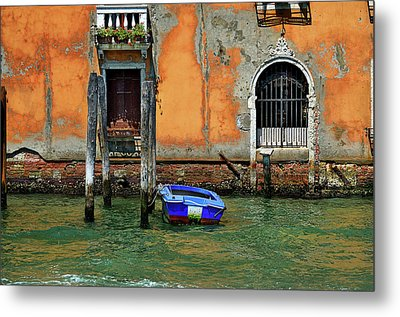 Blue Boat Tied To A Piling. Metal Print