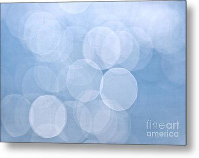 Blue Bokeh Background Metal Print by Elena Elisseeva