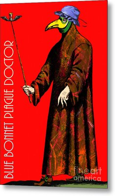 Blue Bonnet Plague Doctor 20140306 With Text Metal Print by Wingsdomain Art and Photography