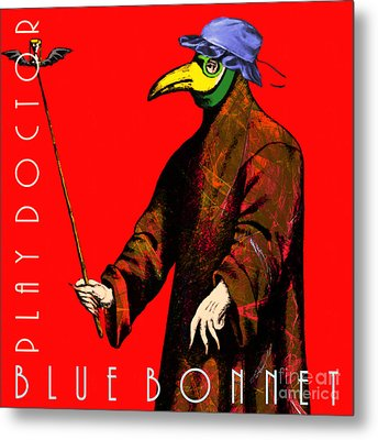 Blue Bonnet Play Doctor 20140306 Square With Text Metal Print by Wingsdomain Art and Photography