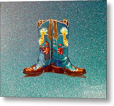 Blue Boots Metal Print by Mayhem Mediums
