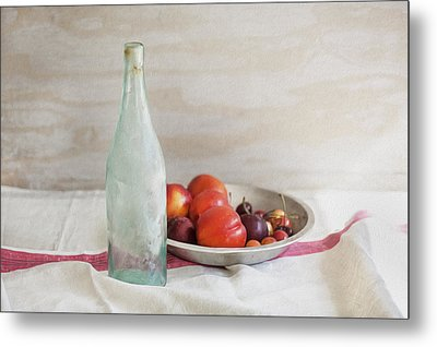 Blue Bottle And Fresh Fruit Metal Print by Rich Franco