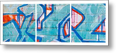 Blue Brick Graffiti Metal Print by Art Block Collections