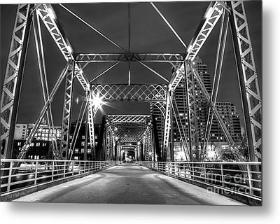 Blue Bridge In Black And White Metal Print by Twenty Two North Photography