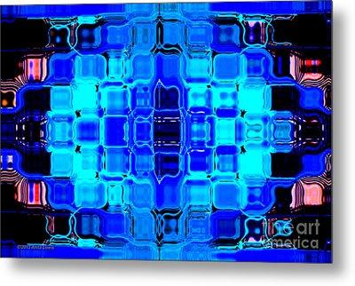 Blue Bubble Glass Metal Print by Anita Lewis