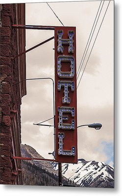 Blue Bulbs Hotel Sign Metal Print by Janice Rae Pariza