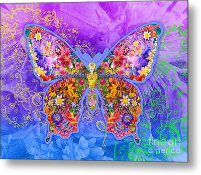 Blue Butterfly Floral Metal Print by Alixandra Mullins