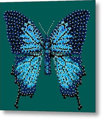 Blue Butterfly Green Background Metal Print by R  Allen Swezey