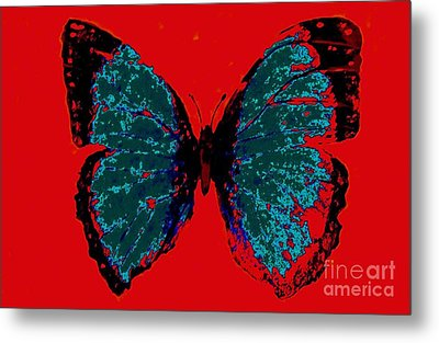 Metal Print featuring the digital art Blue Butterfly  by Jasna Gopic