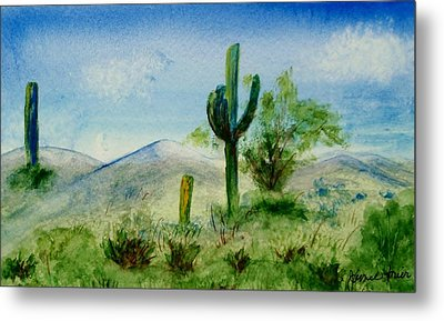 Metal Print featuring the painting Blue Cactus by Jamie Frier