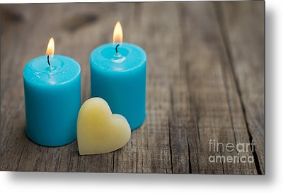 Blue Candles Metal Print by Aged Pixel