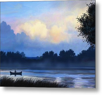 Blue Canoe Metal Print by Robert Foster