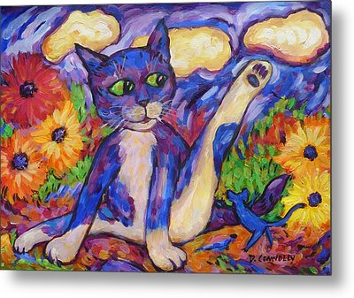 Metal Print featuring the painting Blue Cat Among Daisies by Dianne  Connolly