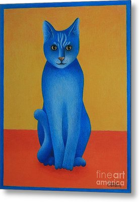 Metal Print featuring the painting Blue Cat by Pamela Clements