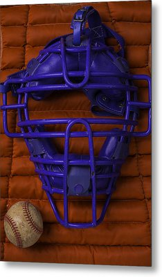 Blue Catchers Mask Metal Print by Garry Gay