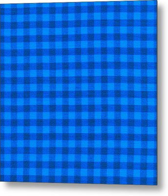 Blue Checkered Tablecloth Fabric Background Metal Print