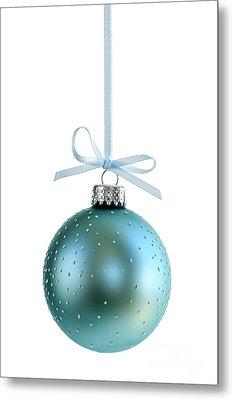 Blue Christmas Ornament Metal Print by Elena Elisseeva